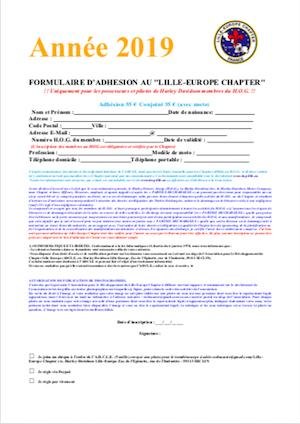 Formulaire adhésion 2019