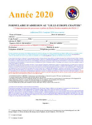 Formulaire adhésion 2020